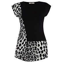 Buy Oasis Leopard Insert Tee, Black Online at johnlewis.com