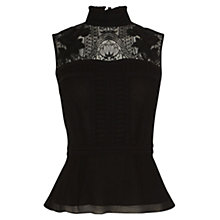 Buy Karen Millen High Neck Lace Blouse, Black Online at johnlewis.com