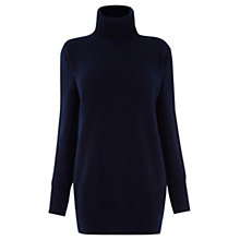 Buy Warehouse Cashmere Polo Neck Slouchy Jumper, Navy Online at johnlewis.com