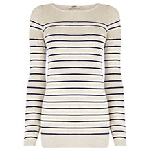 Buy Oasis Metallic Stripe Top, Natural Online at johnlewis.com