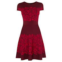 Buy Karen Millen Lace Pattern Skater Dress, Red/Multi Online at johnlewis.com