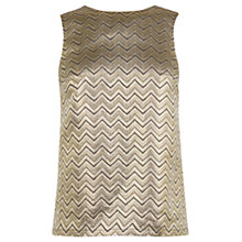 Buy Warehouse Zig Zag Jacquard Top, Gold Online at johnlewis.com