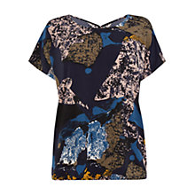 Buy Warehouse Textured Graphic Keyhole Top, Multi Online at johnlewis.com