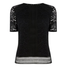 Buy Warehouse Panelled Lace Top, Black Online at johnlewis.com