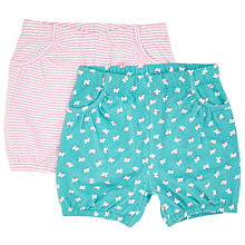 Buy John Lewis Baby Butterfly Stripe Shorts, Pack of 2, Green/Pink Online at johnlewis.com