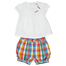 Buy John Lewis Baby Blouse and Check Shorts Set, Pink/White Online at johnlewis.com