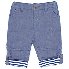 Buy John Lewis Baby Roll-Up Textured Trousers, Blue Online at johnlewis.com