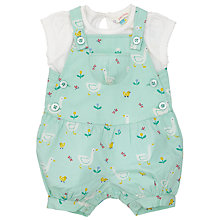 Buy John Lewis Baby Goose Print Dungarees and T-Shirt Set, Green/White Online at johnlewis.com