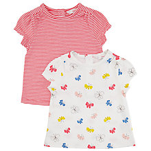 Buy John Lewis Baby Butterfly Stripe T-Shirt, Pack of 2, White/Multi Online at johnlewis.com