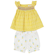 Buy John Lewis Baby Print Top and Shorts Set, Yellow/White Online at johnlewis.com