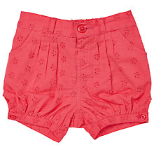 Buy John Lewis Baby Broderie Anglaise Shorts, Red Online at johnlewis.com