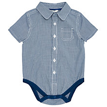Buy John Lewis Baby Gingham Shirt Bodysuit, Blue Online at johnlewis.com
