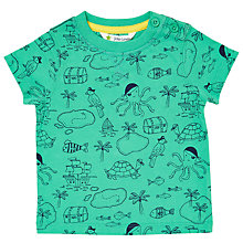 Buy John Lewis Baby Treasure Map T-Shirt, Green Online at johnlewis.com