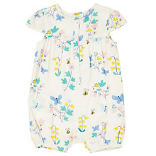 Buy John Lewis Baby Floral and Butterfly Print Playsuit, Cream Online at johnlewis.com
