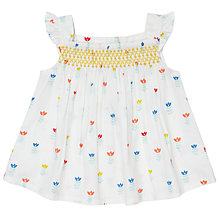 Buy John Lewis Baby Flower Poplin Top, White/Multi Online at johnlewis.com