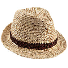Buy Christys' Bude Crochet Raffia Trilby Hat, Natural Online at johnlewis.com