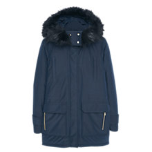 Buy Mango Quilted Coat With Detachable Hood And Faux Fur Trim, Navy Online at johnlewis.com