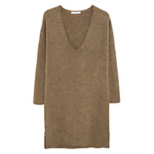 Buy Mango Longline Ribbed Sleeve Jumper, Khaki Online at johnlewis.com