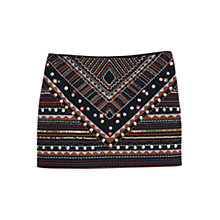 Buy Mango Bead Embroidery Mini Skirt, Black Online at johnlewis.com