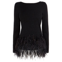 Buy Coast Teaya Feather Knit Top, Black Online at johnlewis.com