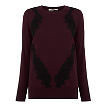 Buy Oasis Placed Lace Jumper, Burgundy Online at johnlewis.com