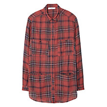 Buy Mango Checked Cotton Shirt, Medium Orange Online at johnlewis.com