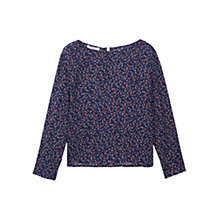 Buy Mango Floral Print Blouse, Navy Online at johnlewis.com