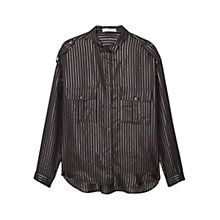 Buy Mango Metallic Striped Shirt, Black Online at johnlewis.com