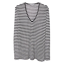 Buy Mango Striped Modal T-Shirt, Black Online at johnlewis.com