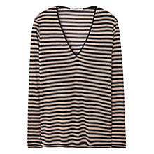 Buy Mango Striped Jersey T-Shirt, Medium Brown Online at johnlewis.com