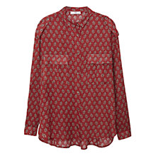 Buy Mango Geometric Print Shirt, Medium Orange Online at johnlewis.com