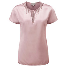 Buy Pure Collection Walpole Beaded Satin Top, Dusty Rose Online at johnlewis.com