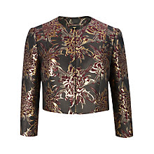 Buy Ted Baker Lunga Metallic Jacquard Cropped Jacket, Dark Red Online at johnlewis.com
