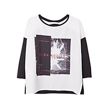 Buy Mango Linen-Blend Printed Image T-Shirt, Black Online at johnlewis.com