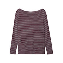 Buy Mango Print Striped Tee, Dark Red Online at johnlewis.com