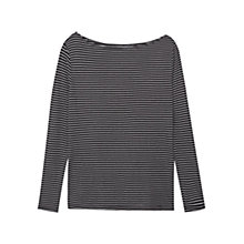Buy Mango Printed Striped T-Shirt, Black Online at johnlewis.com