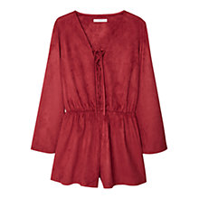 Buy Mango Faux Suede Jumpsuit, Red Online at johnlewis.com
