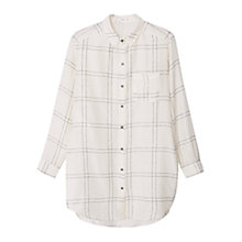 Buy Mango Contrast Checked Shirt, Natural White Online at johnlewis.com