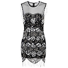 Buy True Decadence Fringed Beaded Bodycon Dress, Black Online at johnlewis.com