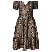 Buy True Decadence Bardot Lace Skater Dress, Black/Gold Online at johnlewis.com