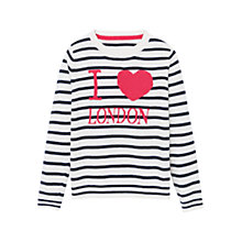 Buy Mango Kids Girls' Stripe London Jumper, White/Blue Online at johnlewis.com