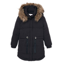 Buy Mango Kids Girls' Hooded Water Repellent Quilted Coat, Black Online at johnlewis.com