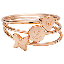 Buy Merci Maman Personalised Initial Mixed Ring Online at johnlewis.com