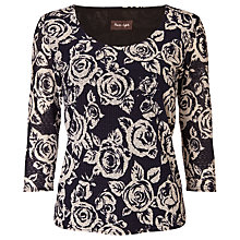 Buy Phase Eight Rose Textured Top, Navy/Ivory Online at johnlewis.com