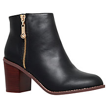 Buy Carvela Tag Block Heeled Ankle Boots, Black Leather Online at johnlewis.com