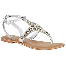 Buy John Lewis Diamanté Toe Post Sandals, Silver Online at johnlewis.com