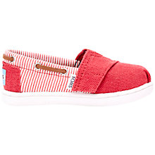 Buy TOMS Junior Bimini Espadrille Shoes, Red Online at johnlewis.com