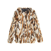 Buy Mango Faux Fur Coat, Medium Brown Online at johnlewis.com