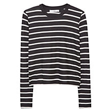Buy Mango Striped Ribbed T-Shirt, Black Online at johnlewis.com