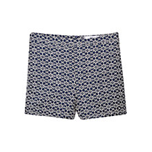 Buy Mango Cotton-Blend Jacquard Shorts, Navy Online at johnlewis.com